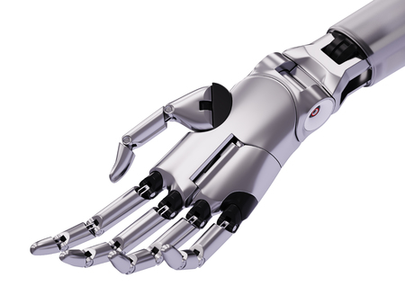 Glossy Metal Robotic Arm 3d Illustration Futuristic Concept Isolated on White Stock Photo