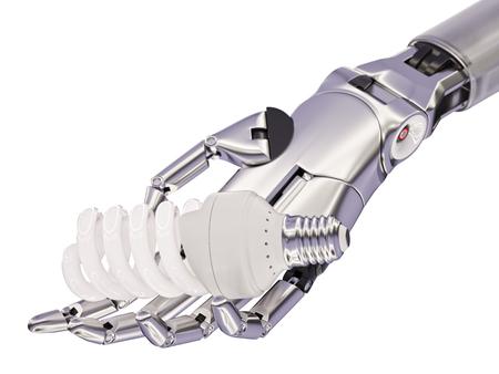 mano robotica: Bombilla fluorescente compacta en la mano robótica Concepto 3d ilustración aislados en blanco