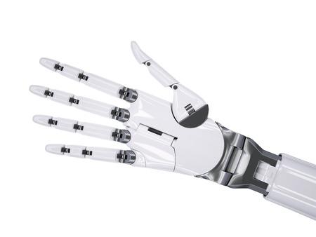 artificial intelligence: Robot Extends a Hand for Handshake 3d Illustration Artificial Intelligence Concept