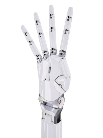 White Cyborg Hand Number Four Counting 3d Illustration Isolated on White