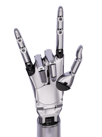 music machine: Chrome Steel Cyborg Hand Music Horn Gesturing 3d Illustration Isolated on White