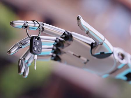 mano robotica: Robotic Hand with Car Keys Close up 3d Illustration Foto de archivo