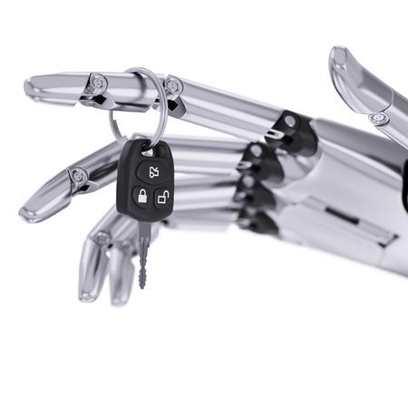 robotic: Intelligent Robotic Driver Assist System 3d Illustration Concept Stock Photo