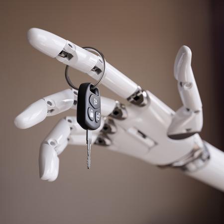 Cyborg Hand mit Auto-Tasten Close up 3D-Illustration