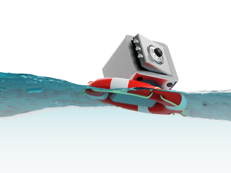 instability: Safe Inside of Lifebuoy Savings or Deposit Insurance Concept 3d Illustration Stock Photo