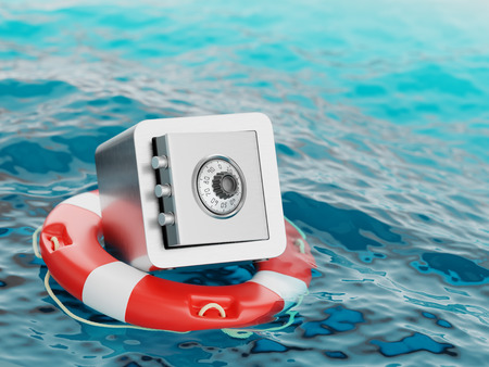 Safe Inside of Lifebuoy Savings or Deposit Insurance Concept 3d Illustration Stock Photo