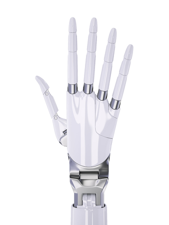 White Robotic Human-Like Hand Close-up 3d Illustration Isolated on White Stock Photo