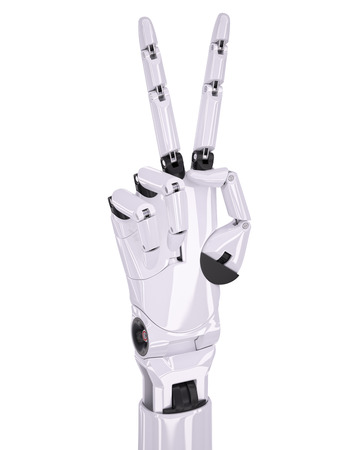 Glossy White Robot Hand Victory or Number Two Gesturing 3d Illustration Isolated on White