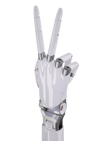 mano robotica: Glossy White Robotic Hand Victory or Number Two Counting 3d Illustration Isolated on White