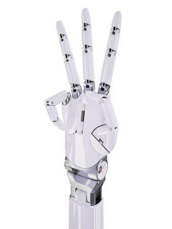 Glossy White Cyborg Hand Number Three Counting 3d Illustration Isolated on White