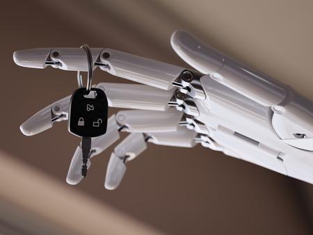 Car Keys in Robotic Arm 3d Illustration Futuristic Driver Assist Concept