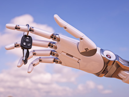 Cyborg Hand with Car Key in Front of Blue Sky 3d Illustration Stock Photo