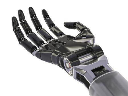 Mano Nera Robot isolato su sfondo bianco illustrazione 3D
