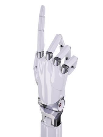 mano robotica: Blanco brillante de mano robótico dirigido hacia arriba o Número Uno Contando Ilustración 3d aislado en blanco