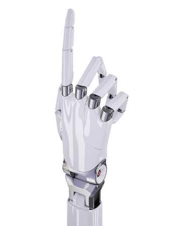 mano robotica: White Glossy Robotic Hand Pointing Up or Number One Counting 3d Illustration Isolated on White Foto de archivo