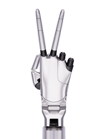 Metal Robotic Hand Victory or Number Two Gesturing 3d Illustration Isolated on White Stock Photo
