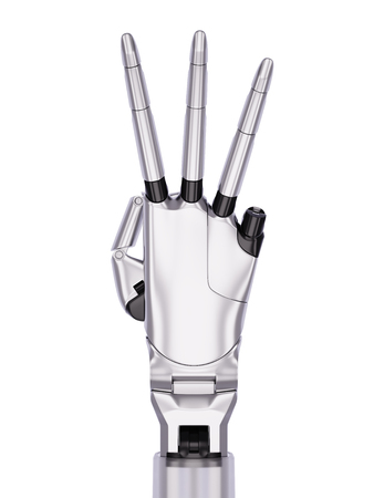 mano robotica: Metal Robotic Hand Number Three Gesturing 3d Illustration Isolated on White Background