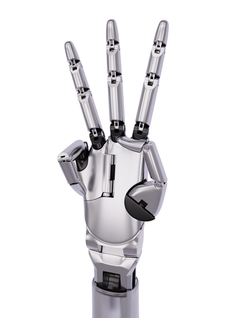 mano robotica: Chromed Steel Glossy Robotic Hand Number Three Gesturing 3d Illustration Isolated on White Background Foto de archivo
