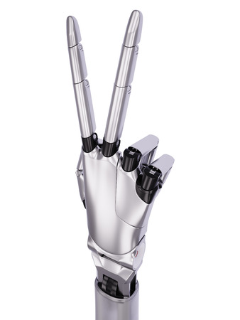 Glossy Robot Hand Victory or Number Two Gesturing 3d Illustration Isolated on White Background Stock Photo