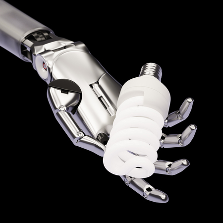 compact fluorescent lightbulb: Compact Fluorescent Lightbulb in Robotic Hand 3d Illustration Concept Isolated on Black