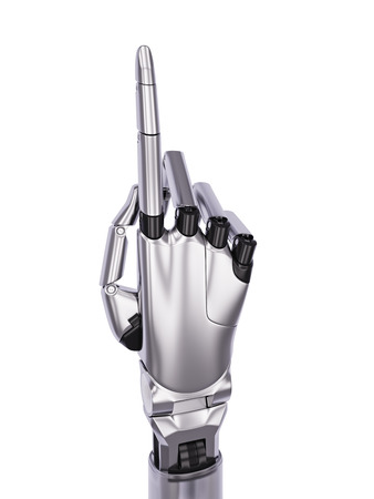 pointing up: Cyborg Hand Pointing Up 3d Illustration Isolated on White
