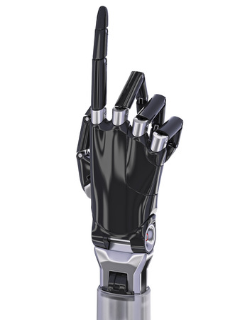 pointing up: Black Cyborg Hand Pointing Up Isolated On White Background 3d Illustration Stock Photo