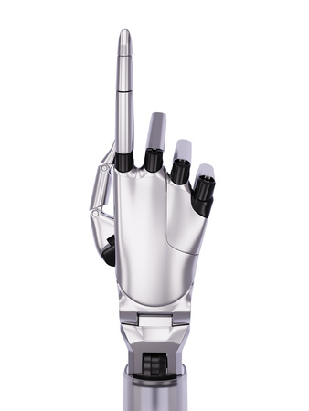 pointing hand: Metal Robotic Hand Pointing or Number One Gesturing 3d Illustration Isolated on White
