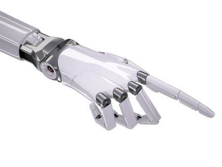 pointing hand: White Glossy Robotic Hand Pointing Somewhere 3d Illustration Isolated on White Stock Photo