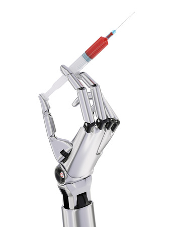 artificial intelligence: Syringe With Blood In Robotic Hand Artificial Intelligence In Medicine Concept 3d Illustration