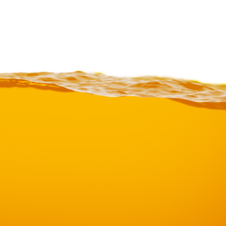 liquid level: Split Level Yellow Oil or Another Liquid 3d Illustration on White Background