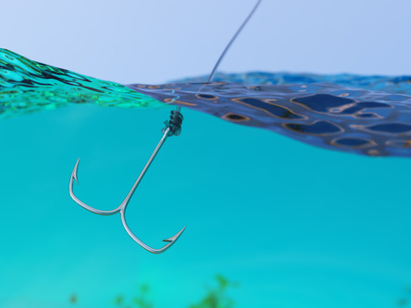 split level: Fishing Closeup 3d Illustration with Hook in the Sea or Ocean