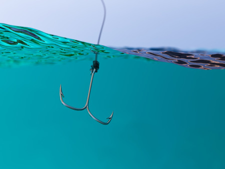split level: Split View of Fishing Hook Under Water Surface 3d Illustration Fishing Concept Stock Photo