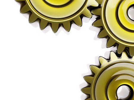 Well-Oiled Cogwheels in Oil Film Closeup 3d Illustration on White Background