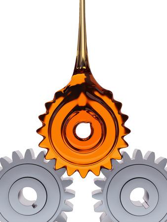 歯車形グリース ドロップ チームワークの概念 3 d イラストレーション