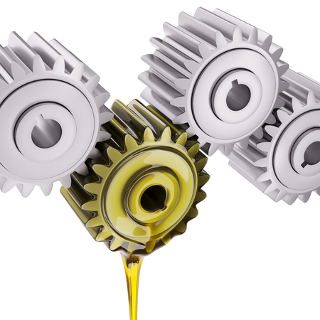 greasing: Irregularly Greased Gears Teamwork Concept 3d Illustration Stock Photo