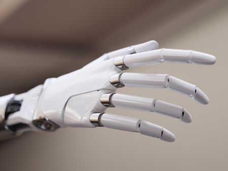 humanity: White Futuristic Android Hand Closeup Concept 3d Illustration