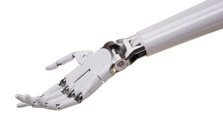 흰색 배경 3d 일러스트에서 절연 기계적 로봇 손