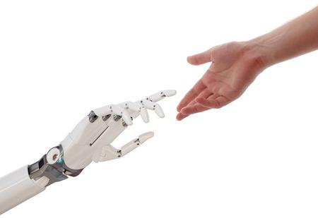 Mens en robot handen bereiken Artificial Intelligence concept 3D-afbeelding die op Witte Achtergrond