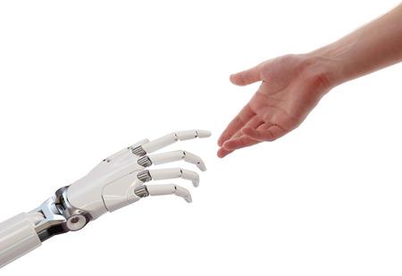Humain, et, robot, mains, atteindre, intelligence artificielle, concept partenariat, 3d, illustration, isolé, sur, fond blanc