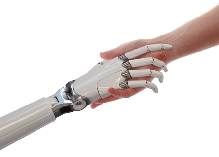 Illustration 3d humain et Robot Handshake Intelligence Artificielle Partenariat Concept isolé sur fond blanc Banque d'images