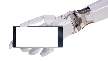 White Futuristic  Hand Holding Modern Smartphone Closeup Concept 3d Illustration Stock Photo