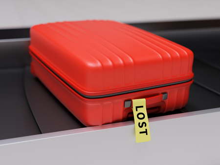 Red Suitcase with Yellow Lost Sticker on Baggage Claim Transporter 3d Illustration
