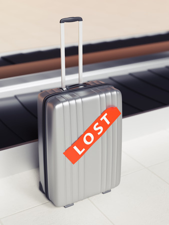 Suitcase with Red Lost Sticker Near Baggage Claim Transporter 3d Illustration