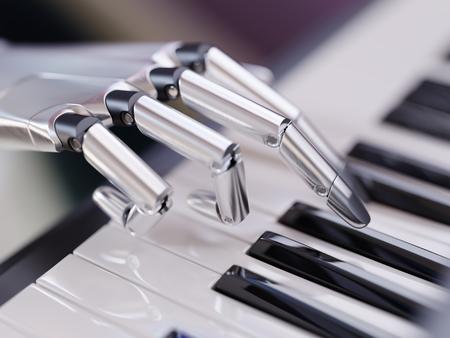 Robot joue du piano Artificial Intelligence Concept 3d Illustration Close-up Banque d'images