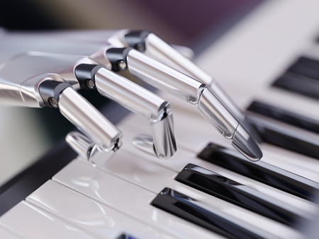 Robot Plays the Piano Artificial Intelligence Concept 3d Illustration Close-up Stockfoto