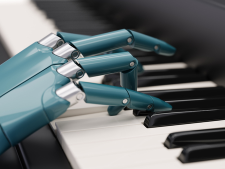 melodist: Robot Plays the Piano Artificial Intelligence Concept 3d Illustration Close-up Stock Photo