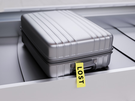 baggage: Suitcase with Yellow Lost Sticker on Baggage Claim Transporter 3d Illustration