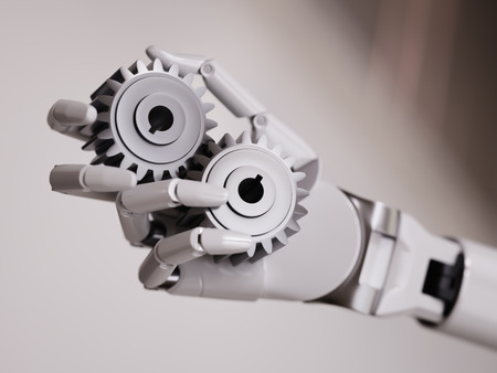 Robot Hand with Gearwheels Automation Concept 3d Illustration Close-up Stock Photo
