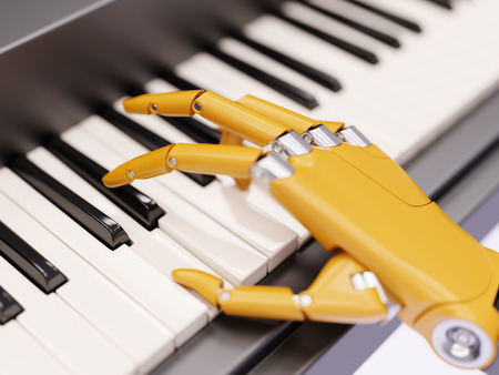 Robot Plays the Piano Artificial Intelligence Concept 3d Illustration Close-up Stock Photo