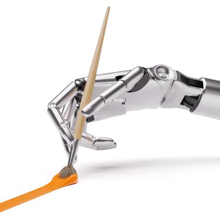 브러시 근접 촬영으로 로봇 그림입니다. 인공 지능 창의력 개념 3d 일러스트 레이 션